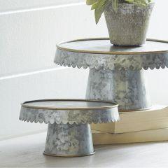 Scalloped Edge Iron Pedestal Riser Set of 2