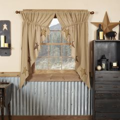 Rustic Applique Star Curtain Panels Set of 2