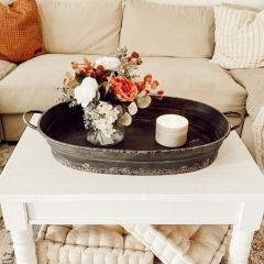 OVERSIZED Distressed Finish Metal Tray