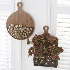 Hanging Wooden Cutting Boards with Wire Basket Set of 2