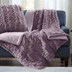 Ruched Faux Fur Throw Blanket Lavender