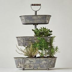 Metal 3 Tier Display Stand With Wood Handle  