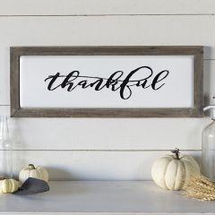 Wood Framed Metal Thankful Sign