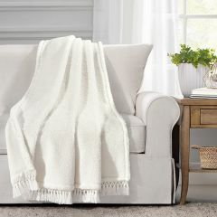 Cozy Sherpa Fringed Throw Blanket