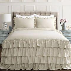Layered Ruffle Neutral Bedspread Set