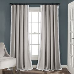 Lace Trimmed Grey Curtain Panel Set of 2