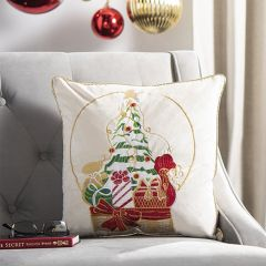 Colorful Christmas Scene Accent Pillow