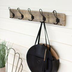 5 metal Hook Recycled Wood Coat Rack Set of 2