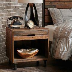 Multi Toned Wood And Metal Nightstand