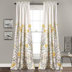 Floral Pattern Room Darkening Panel Curtain Set of 2