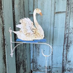 Swan Wall Hook With Hanging Bell And Flower Tray