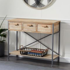 Three Drawer Wood And Metal Console Table