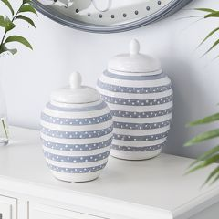 Striped Ceramic Jar Set of 2