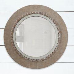 Round Wood Framed Accent Mirror