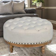 Rustic Round Cushion Ottoman
