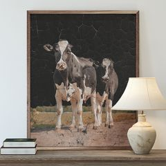 Two Holstein Cows Black Framed Wall Art