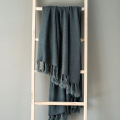 Washed Linen Tasseled Throw Blanket