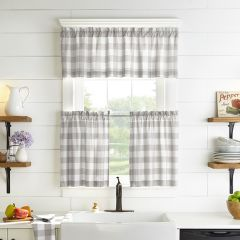 Grey and White Buffalo Check Window Curtain Set of 2