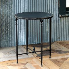 Aged Metal Round Side Table