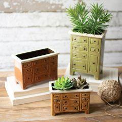 Ceramic Drawer Chest Planter Set of 3
