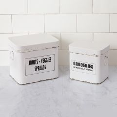 Lidded Farmhouse Kitchen Canisters Set of 2