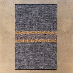 Center Stripe Woven Leather Rug
