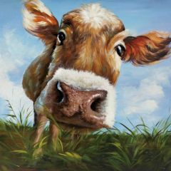 Hello Hand Painted Cow Canvas Wall Art
