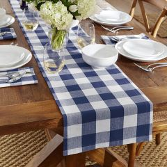 Blue and White Buffalo Check Table Runner
