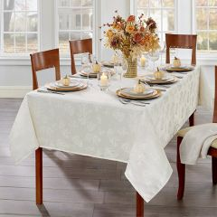 Jacquard Damask Leaf Pattern Tablecloth