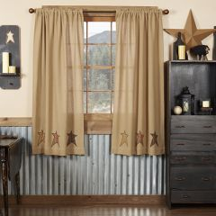 Rustic Applique Star Straight Curtain Panels Set of 2