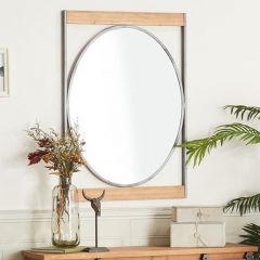 Geometric Oval Wood And Metal Mirror
