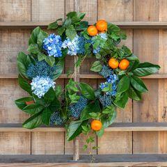 Hydrangea and Citrus Wreath