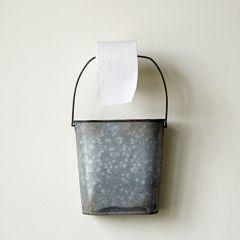Galvanized Bucket Toilet Paper Holder