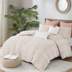 Textured Cotton Reversible Duvet Cover Set