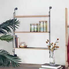 Wood And Metal 3 Tier Wall Shelf