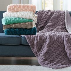 Ruched Faux Fur Throw Blanket