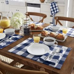 Blue and White Buffalo Check Placemats Set of 4