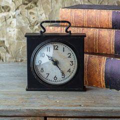 Handled Metal Case Tabletop Clock