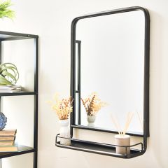 Metal Wall Mirror With Shelf