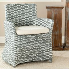 Distressed Rattan Cushioned Accent Chair