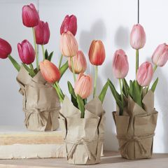 Paper Wrapped Faux Potted Tulips Set of 3