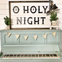 Aged Christmas Sheet Music Wood Banner