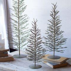 Antique Brass Wire Pine Tree Set of 3