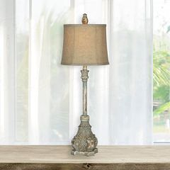 Antiqued Empire Base Buffet Lamp