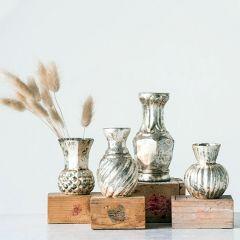 Antiqued Glass Bud Vase Collection Set of 4