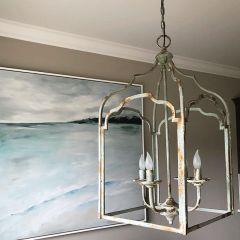 Antiqued Open Frame 4 Light Chandelier