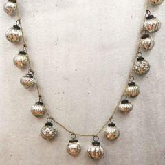 Antiqued Silver Mercury Glass Ornament Garland