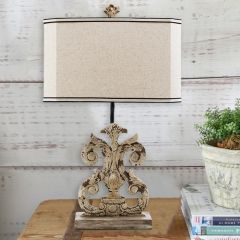 Antiqued Whitewashed Table Lamp