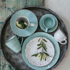 Aqua Farmhouse Stoneware Mugs Set of 4 Bundle