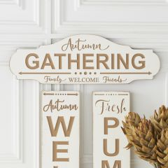 Autumn Gathering Oval Wood Wall Sign